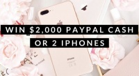 Win $2,000 PayPal Cash or 2 iPhones