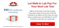 $50 Walk-In Lab Gift Certificate Giveaway