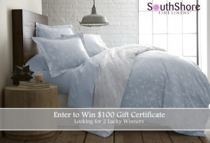 $100 Southshore Fine Linens Gift Certificates Giveaway