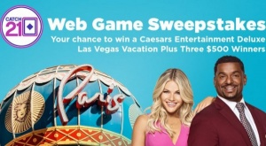 Catch 21 Web Game Sweepstakes for a Chance at $500 and a Trip to Las Vegas!